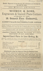 Advert for Widmer & Sons, Engraver & Stencil Plate Cutters